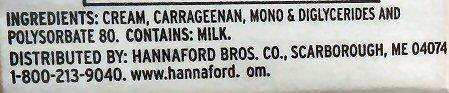 Hannaford Heavy Cream Ingredients